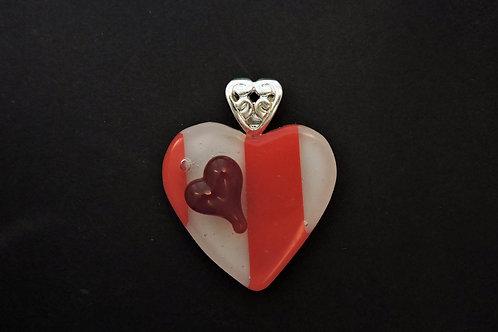 P027 Red & White Heart Pendant