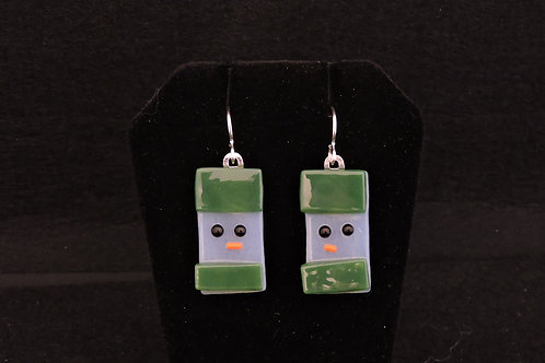 H23 Olive Green Snowdude Earrings