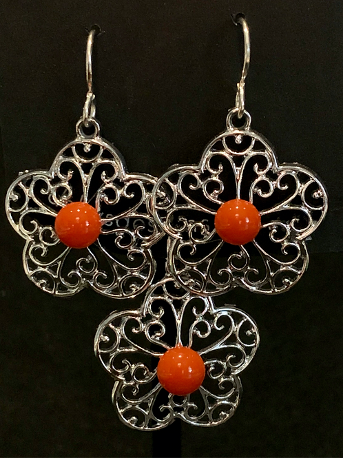 S022 Orange Clover Earrings & Pendant
