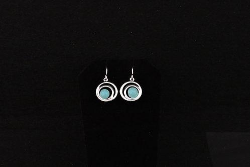 E113 Aqua Spiral Earrings