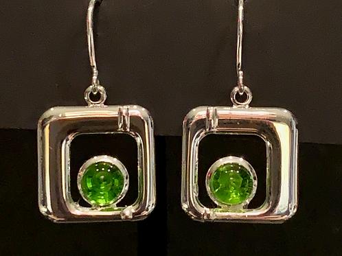 E012 Spring Green Square Earrings