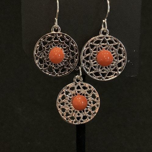 S021 OrangeRound Earrings & Pendant