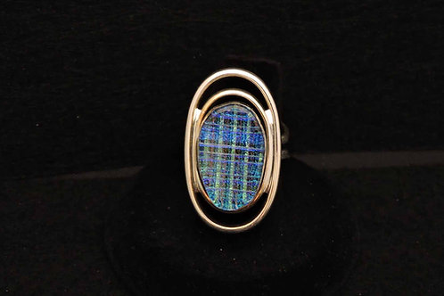 R13 Blue Accordion Oval Ring