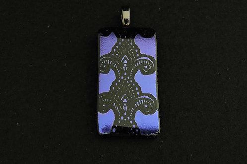 P394 Purple Etched Lace Pendant