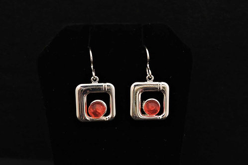E011 Coral Square Earrings