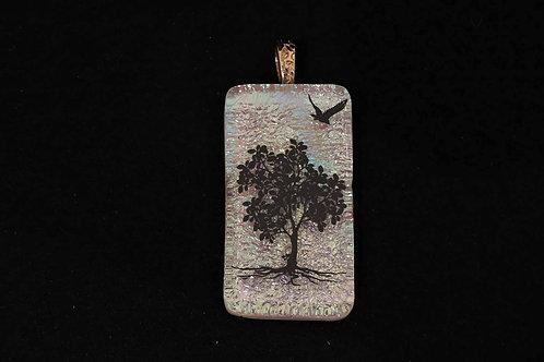 P419 Dichro Tree & Bird Pendant