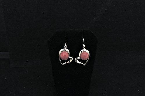 E103 Dusty Rose Heart Earrings