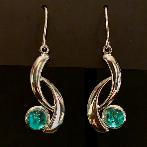 E017 Fancy Aqua Drop Earrings