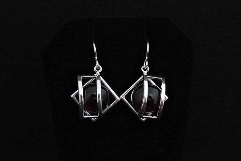 E070 Black Cage Earrings