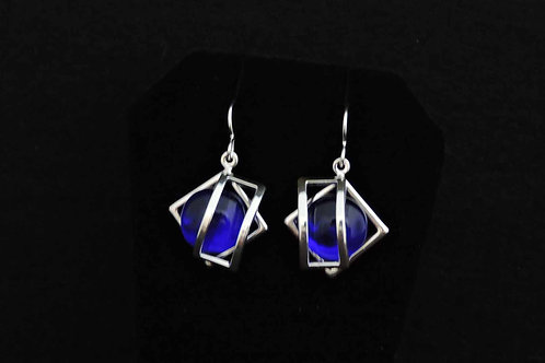 E067 Cobalt Blue Cage Earrings