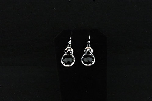 E128 Black Knot Earrings
