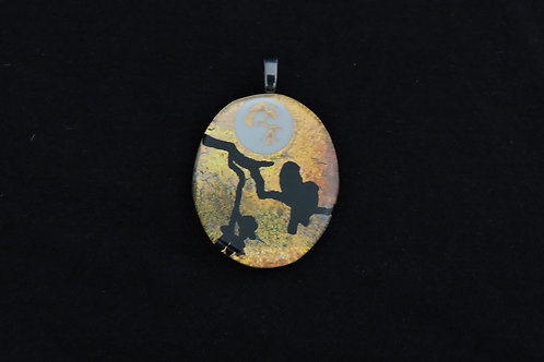 P325 Oval Moonlit Birds Pendant