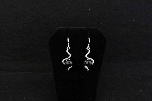 E108 Black Twizzle Earrings