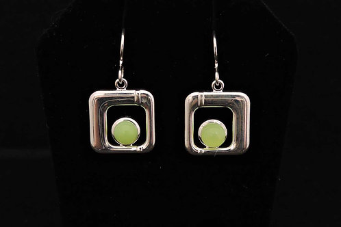 E008 Chartreuse Square Earrings