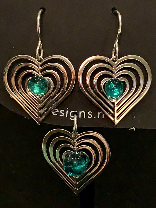 S010 Aqua Heart Earrings & Pendant
