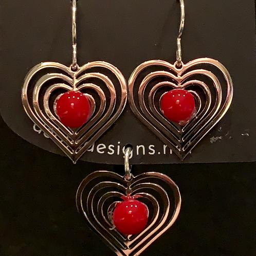 S012 Red Heart Earrings & Pendant
