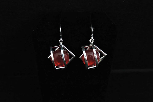 E068 Red Cage Earrings