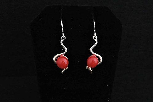 E071 Red Snake Earrings