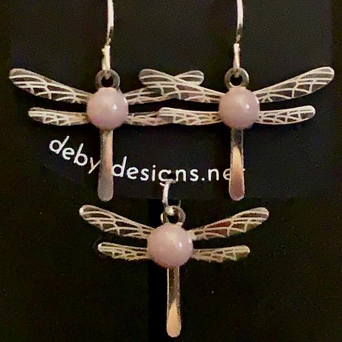 S009 Dusty Rose Dragonfly Earrings & Pendant