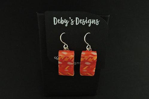 E035 Orange & Red Earrings