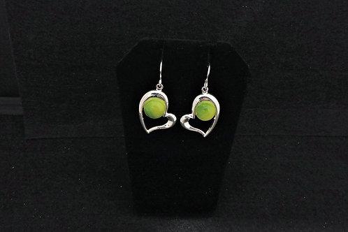 E112 Spring Green Heart Earrings