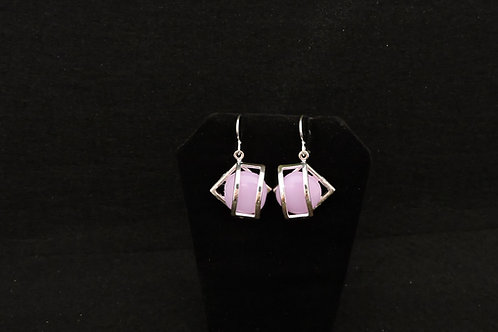 E098 Pink Cage Earrings