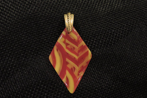P063 Red, Marigold & Clear Pendant