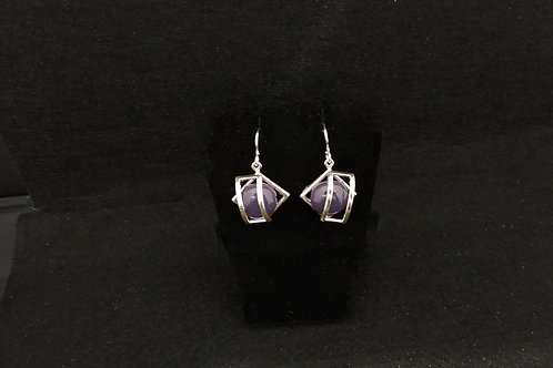 E095Dark Purple Cage Earrings