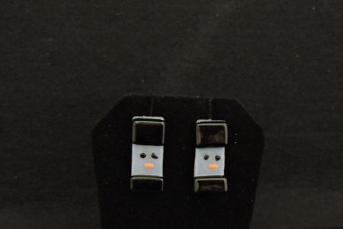 H58 Black Snowdude Post Earrings