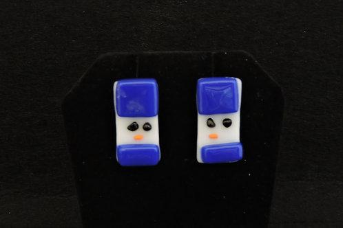 H21 Blue Snowdude Post Earrings