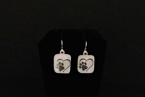E076 Heart Paw Earrings