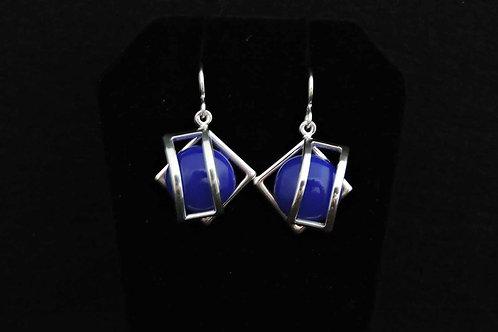 E069 Blue Cage Earrings