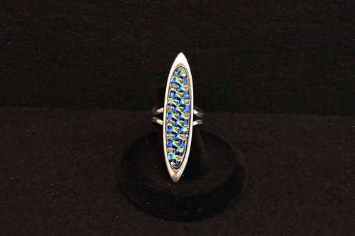R7 Blue Bubbles Long Ring