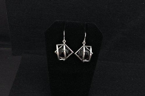 E111 Black Cage Earrings