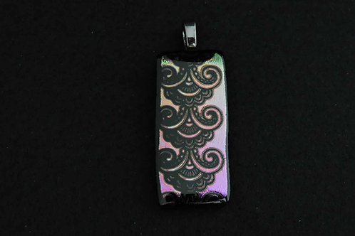 P407 Purple/Pink Etched Pendant