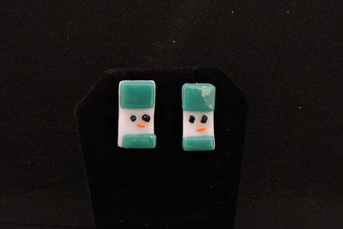 H40 Teal Snowdude Post Earrings