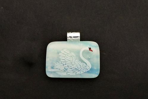 P076 Aqua & White Swan Pendant