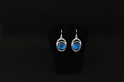 E099 Oval Blue Transparent Earrings