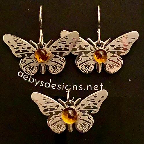 S003 Amber Butterfly Earrings & Pendant