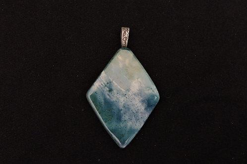 P208 Blue Enamel Diamond Pendant