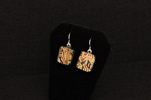 E053 Orange Print Earrings