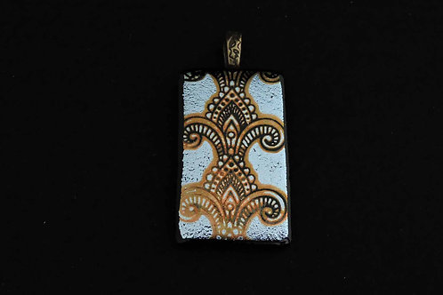 P408 Silver Etched Pendant