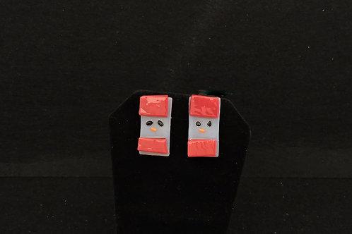 H70 Red Snowdude Post Earrings