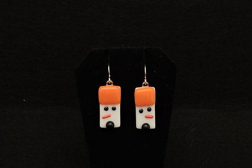 H06 Orange & Black Snowdude Earrings