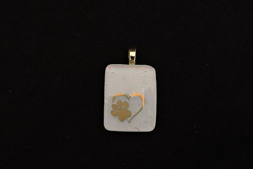 A242 Gold Paw Heart Pendant
