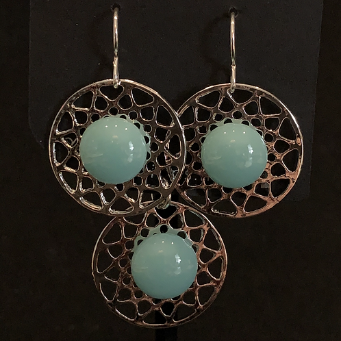 S018 Aqua Round Earrings & Pendant