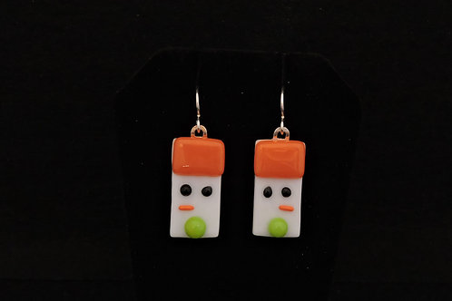 H74 Orange & Green Snowdude Earrings
