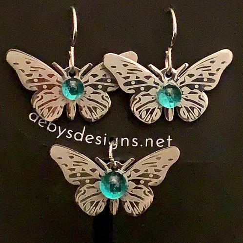 S005 Aqua Butterfly Earrings & Pendant