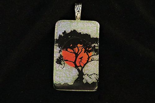 P146 Sunrise with Bird & Tree Pendant