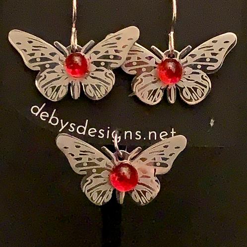 S001 Coral Butterfly Earrings & Pendant